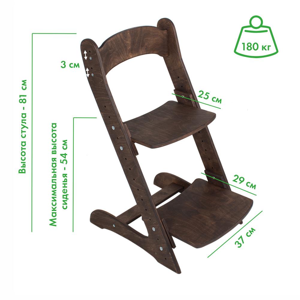 Комплект, парта и растущий стул, цвет темный орех