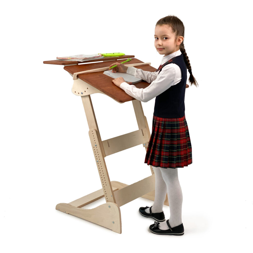 Стол для работы стоя «Ладная» на рост 100 -160 см, столешница светлый орех