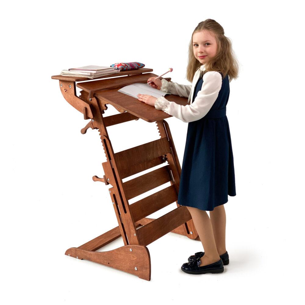 Стол для работы стоя «Гармония» на рост 90-160 см, премиум, светлый орех