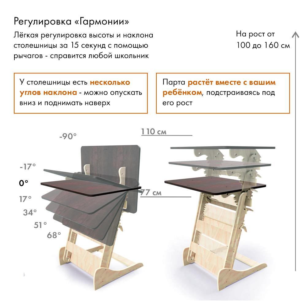 Конторка «Эврика детская (Гармония)» для учебы стоя на рост 100-160 см