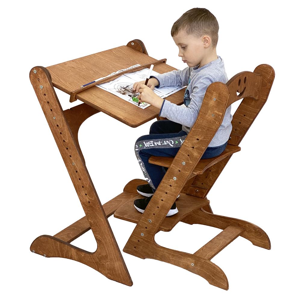 Комплект, парта и растущий стул, цвет светлый орех