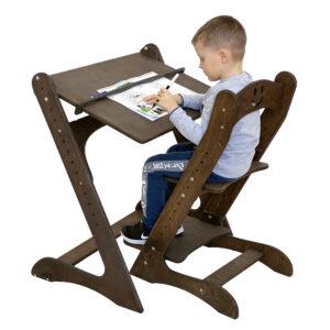Комплект, парта и растущий стул, премиум, темный орех