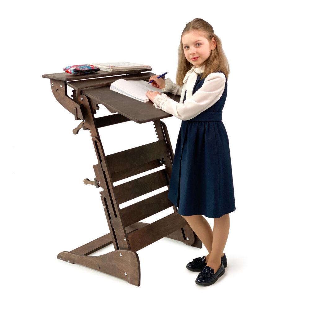 Стол для работы стоя «Гармония» на рост 90-160 см, премиум, темный орех