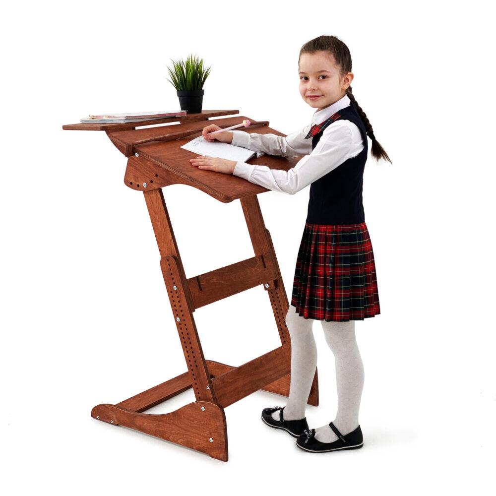 Стол для работы стоя «Ладная» на рост 100 -160 см, премиум, светлый орех
