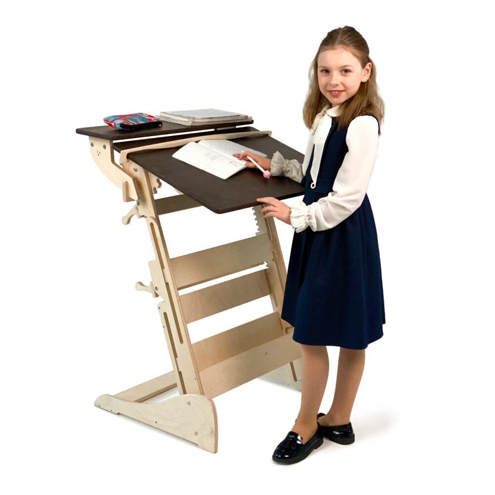 Стол для работы стоя «Гармония» на рост 90-160 см, столешница темный орех