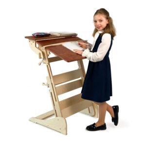 Письменный стол для работы стоя с регулировкой высоты и наклона столешницы на рост 90-160 см