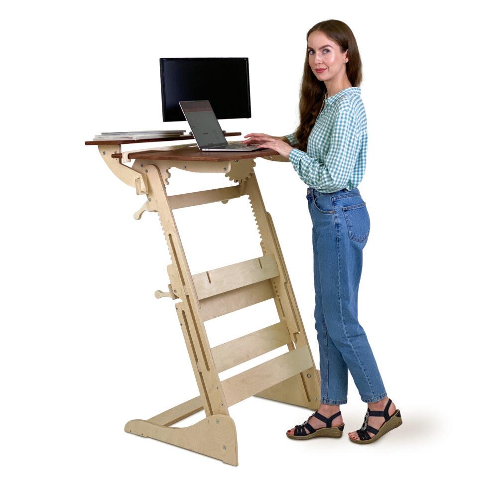 Стол для работы стоя «Эврика» на рост 120-190 см, столешница светлый орех