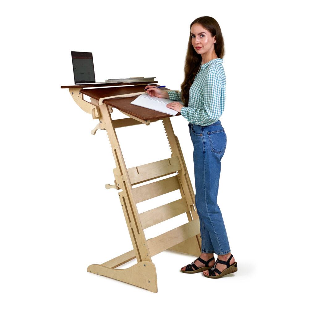 Столик для ноутбука для работы стоя с регулировкой высоты на рост 120-190 см