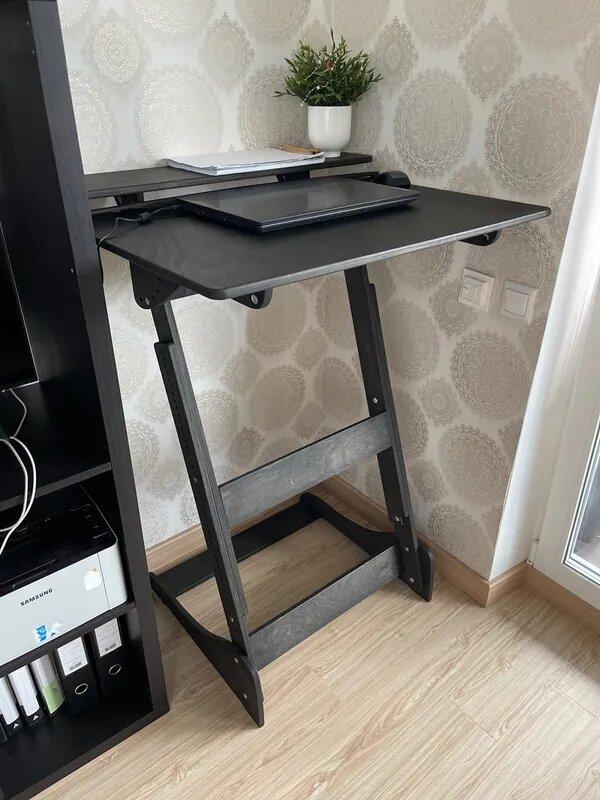 Стол для работы стоя «Добрыня» на рост 150-190 см, премиум, черный венге
