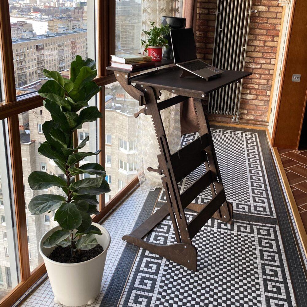 Стол для работы стоя «Эврика» на рост 120-190 см, премиум, темный орех