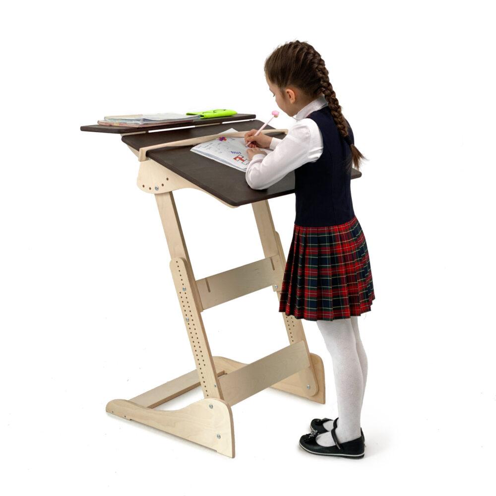 Стол для работы стоя «Ладная» на рост 100 -160 см, столешница темный орех