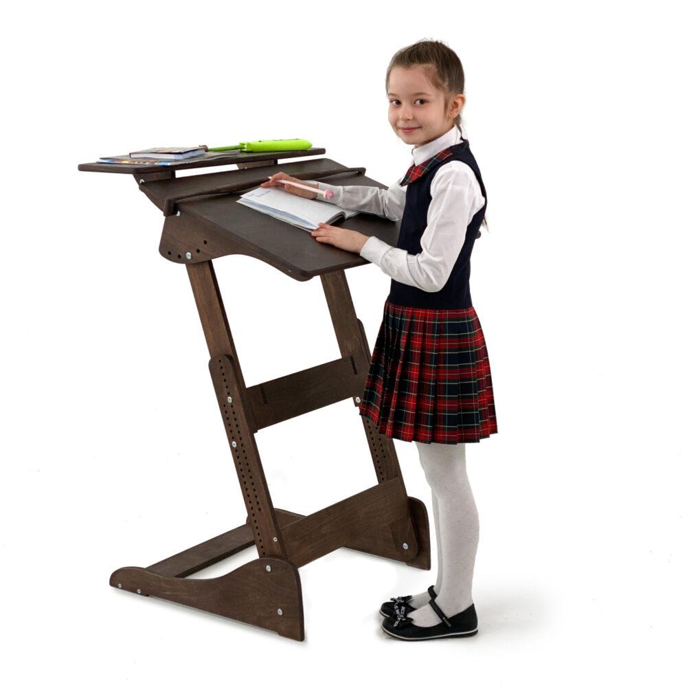 Стол для работы стоя «Ладная» на рост 100 -160 см, премиум, темный орех