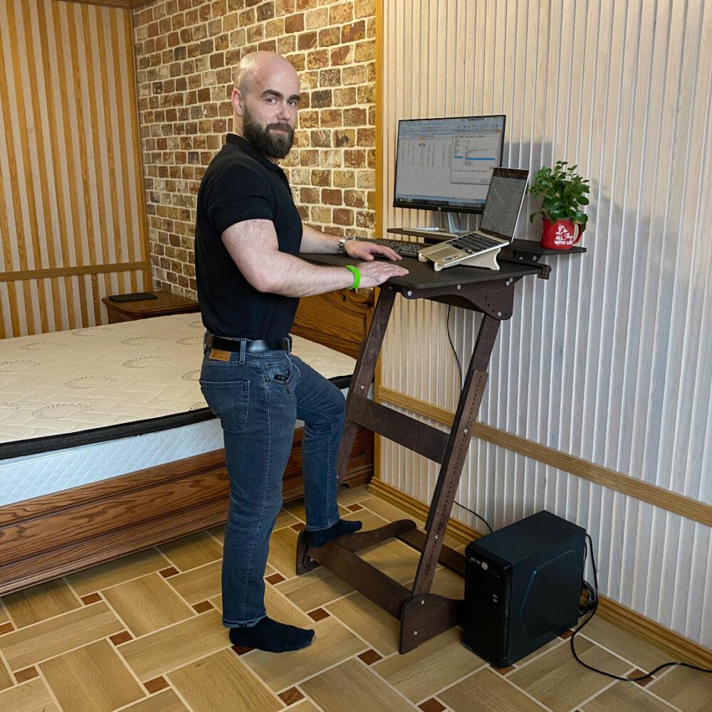 Высокий стол «Добрыня» без шлифовки, под покраску, на рост 150-190 см