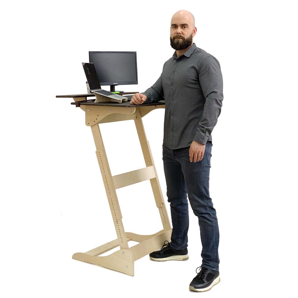 Стол для работы стоя «Добрыня» на рост 150-190 см, столешница темный орех