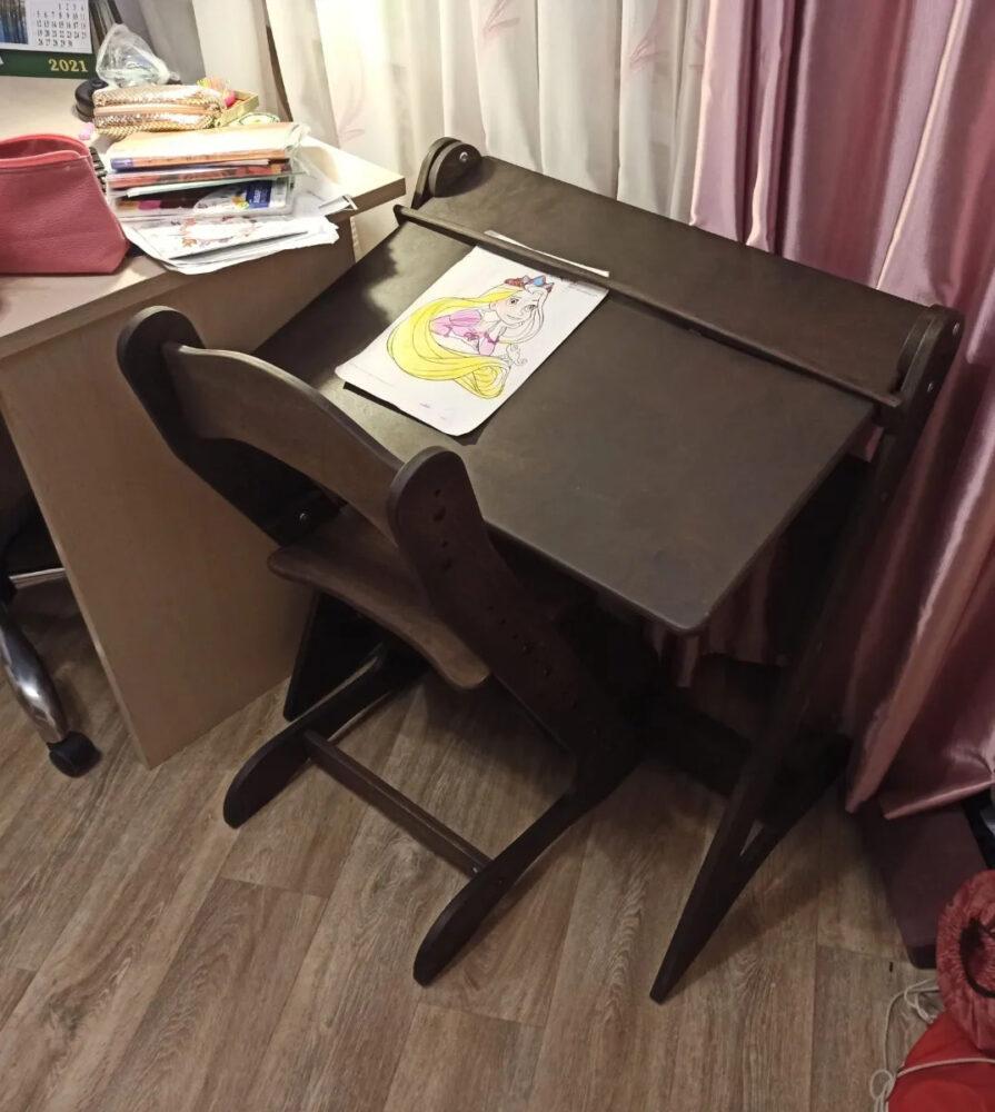 Комплект мебели для занятий сидя и стоя, темный орех