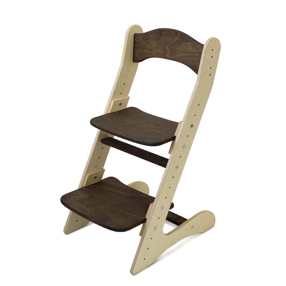 Растущий стул для детей «Компаньон» темный орех + прозрачное масло с воском