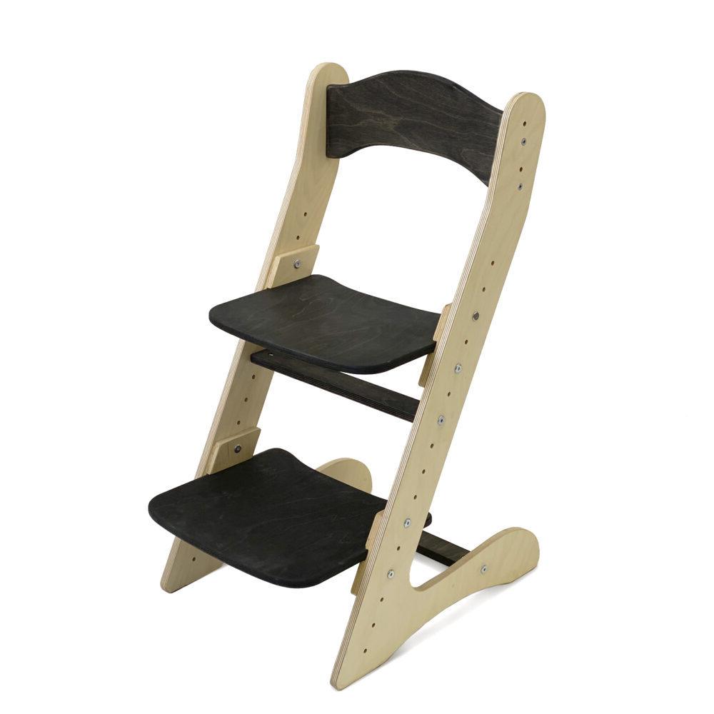 Растущий стул для детей «Компаньон» черный венге + прозрачное масло с воском