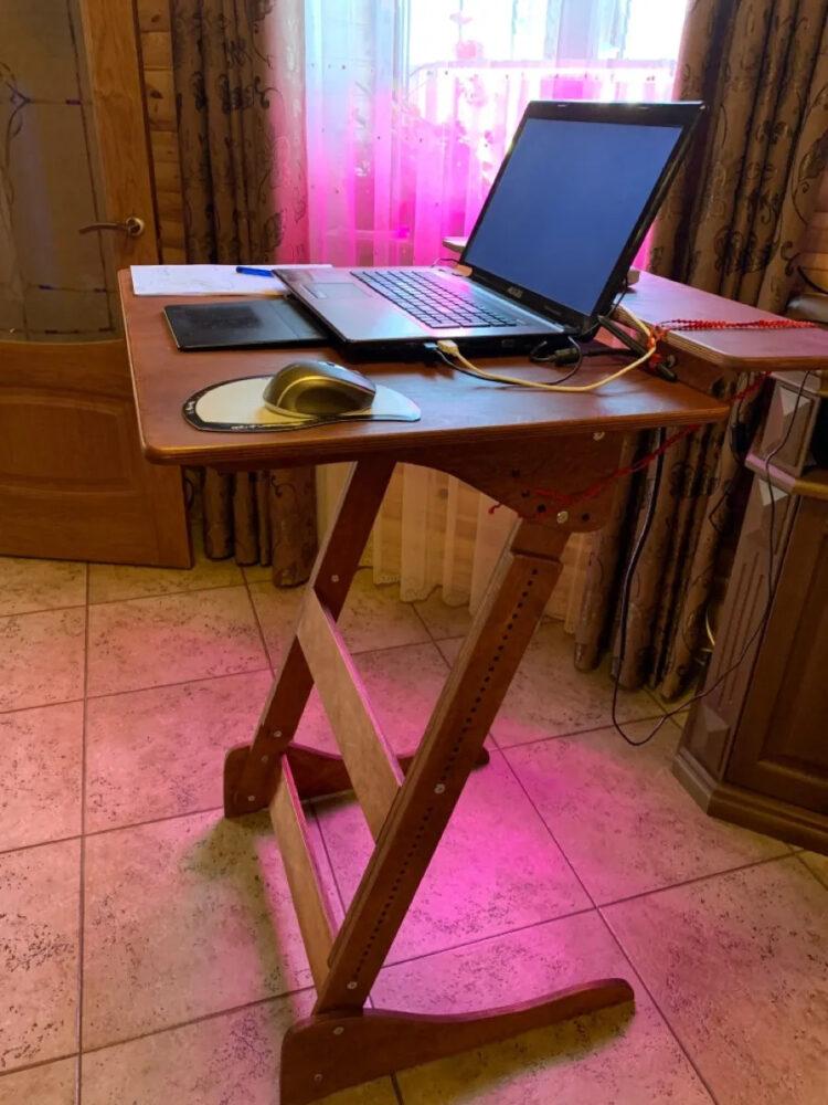 Стол для работы стоя «Добрыня» на рост 150-190 см, премиум, светлый орех