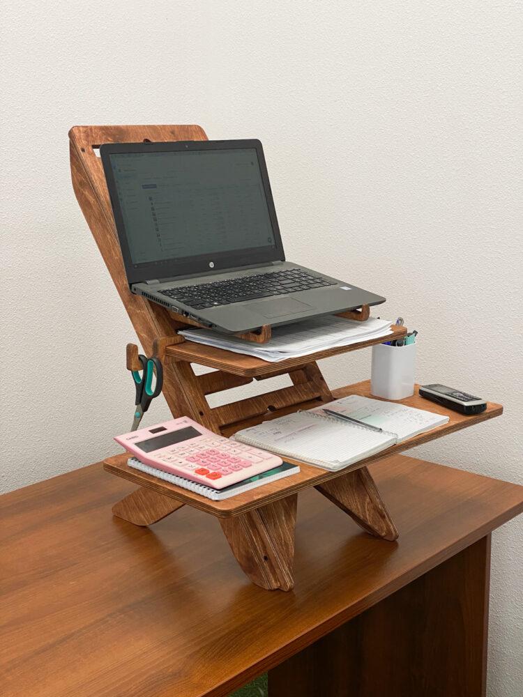 UP DESK — подставка для ноутбука для работы стоя, светлый орех