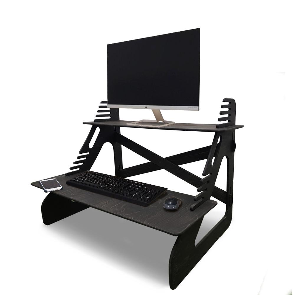 Стойка для монитора и ноутбука для работы стоя, черный венге