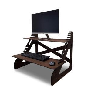 Стойка для монитора и ноутбука для работы стоя, темный орех