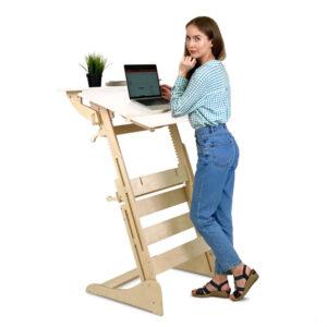 """Высокий стол """"Эврика"""" для работы и учебы стоя, на рост 120-190 см, БЕЛАЯ столешница"""
