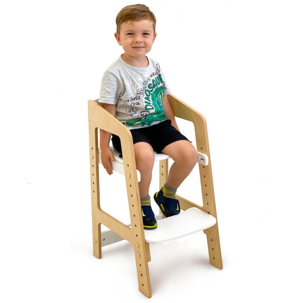 Растущий стульчик «Непоседа» для детей от 1 года до 10 лет, белый акрил + прозрачное масло с воском