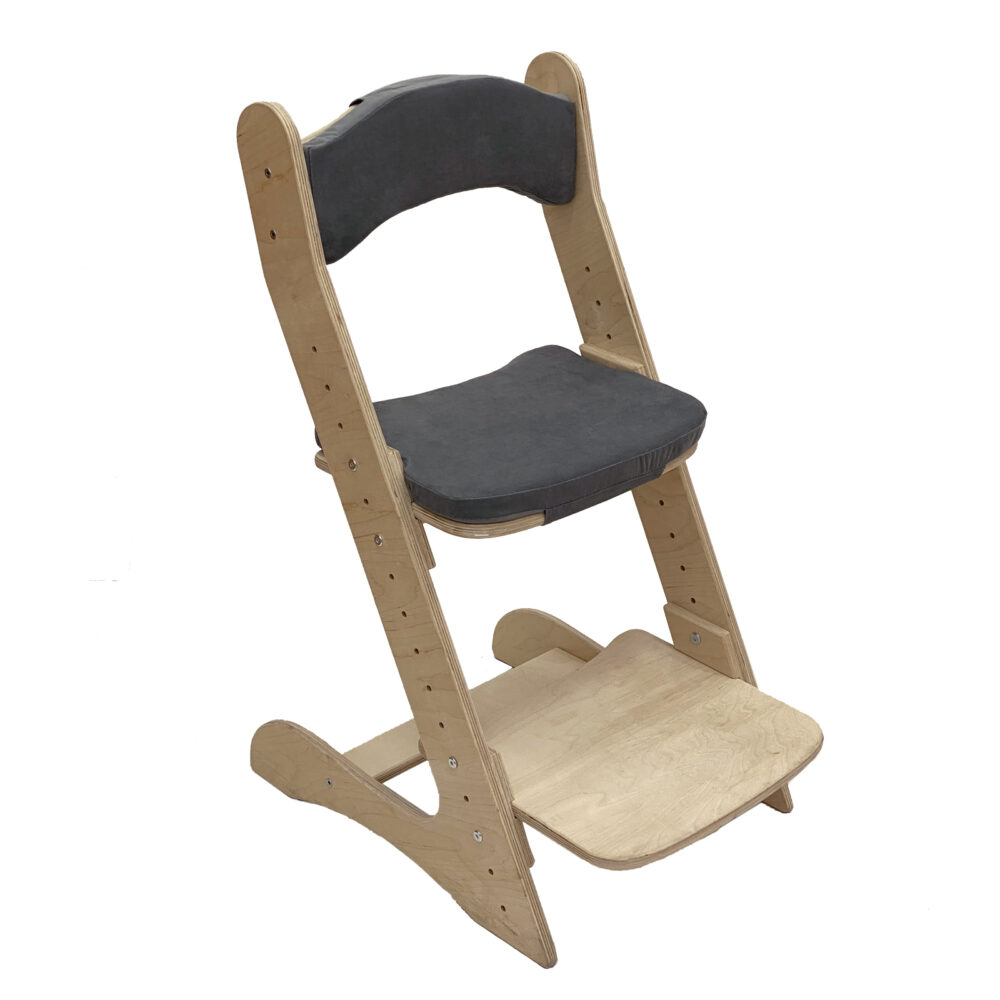 Растущий стул для детей «Компаньон» натуральное дерево с комплектом подушек GREY