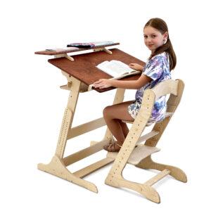 Комплект, растущая парта и стул для школьника