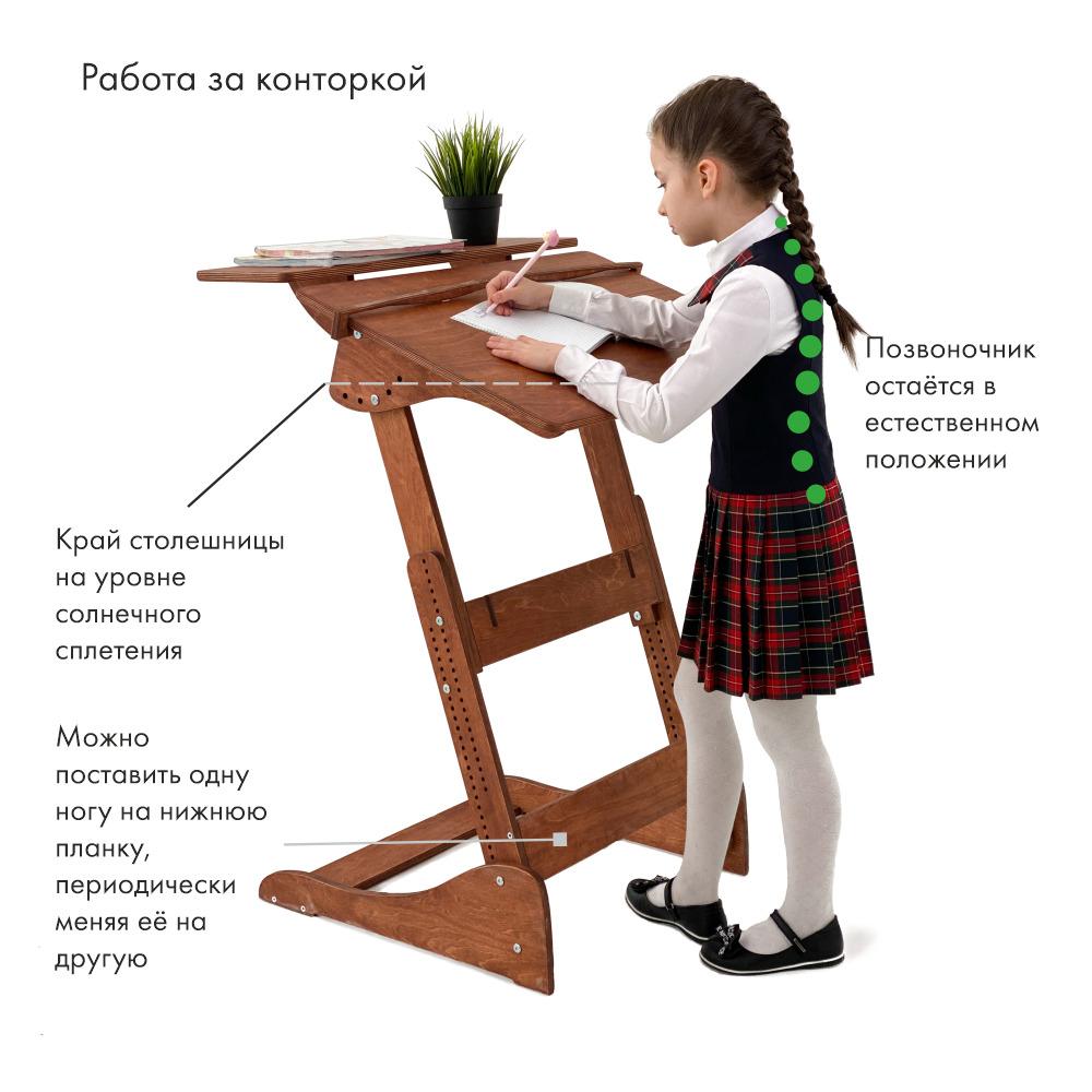 Растущая парта «Добрыня детский (Ладная)» для учебы стоя на рост 100-160 см, с верхней полкой, Светлый орех