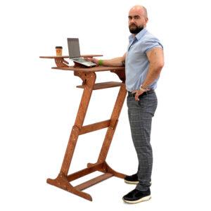 """Стол конторка """"Хронос XL"""" для работы стоя и сидя с верхней полкой, цвет Светлый орех"""