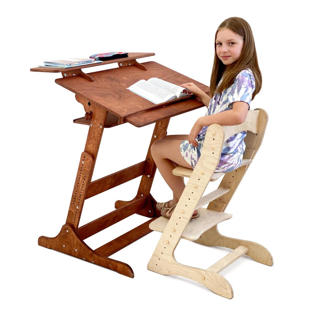 Комплект для школьника: растущая парта + стул, цвет Светлый орех