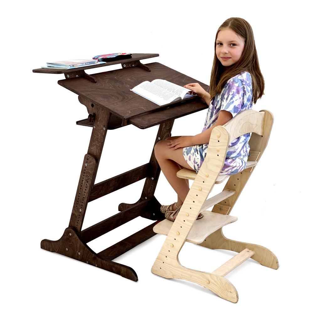 Комплект для школьника: растущая парта и стул, цвет Тёмный орех